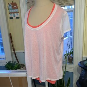 Dkny jeans white and coral tee shirt XL top 🌷